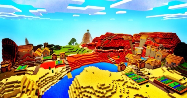 2 MESA VILLAGES IN OLD WORLD TYPE Minecraft PE Seed