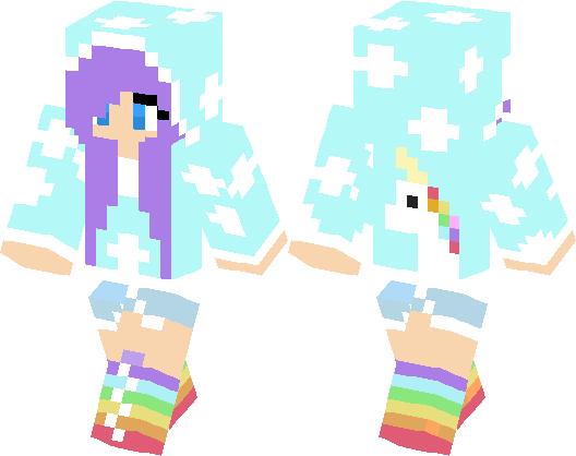 Rainbow Girl With Unicorn On The Back Minecraft Skin