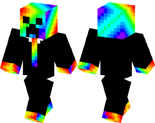 Rainbow Creeper with suit | Minecraft Skin | Minecraft Hub