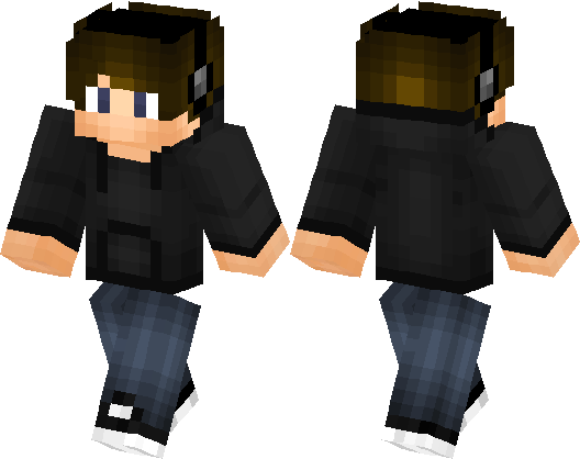 Cool Boy Skin with Headphones! Black Hoodie and Cool Shoes