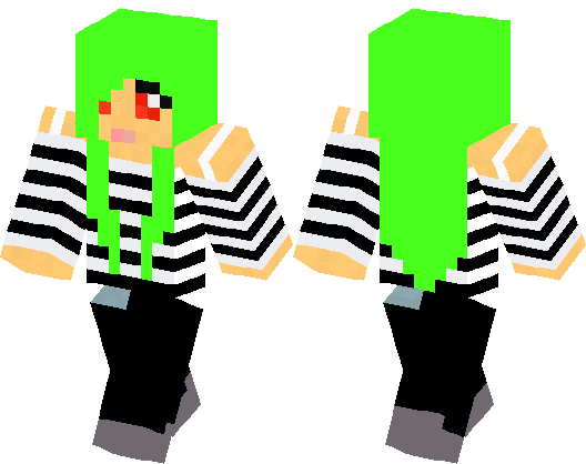 A Girl With Green Hair Minecraft Skin Minecraft Hub