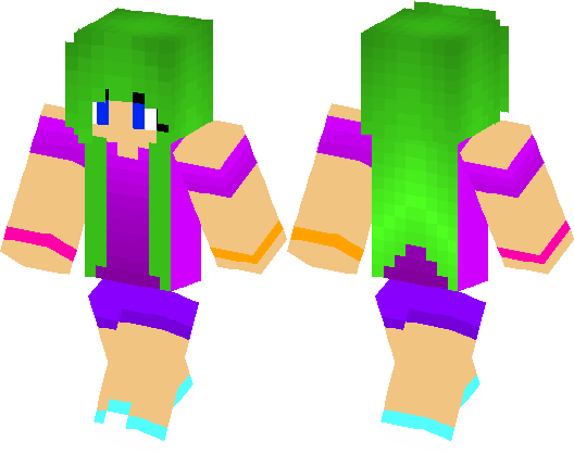 Green Hair Girl Minecraft Skin Minecraft Hub