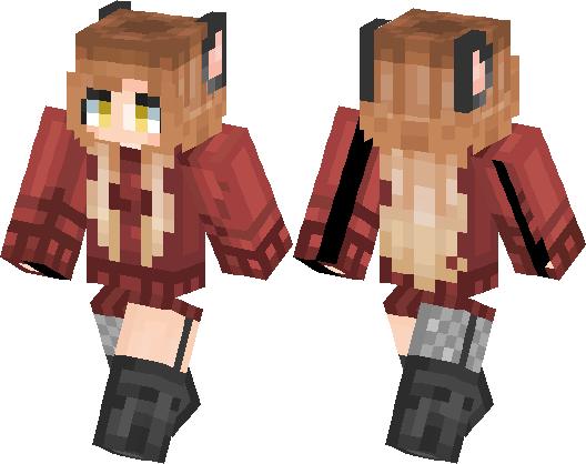 fox girl with golden eyes minecraft skin minecraft hub