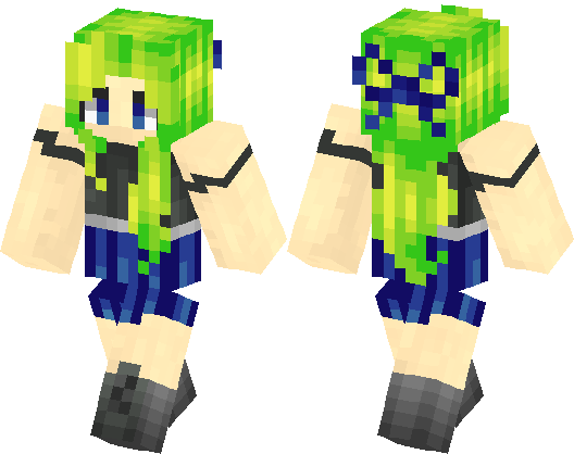 Pretty Girl Whit Neon Green Hair Minecraft Skin Minecraft Hub